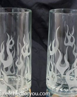 Beer mugs with etched flame design