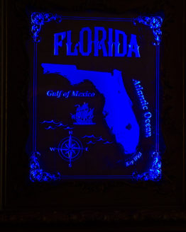 Vintage Florida map in carved glass with frame and LED lights