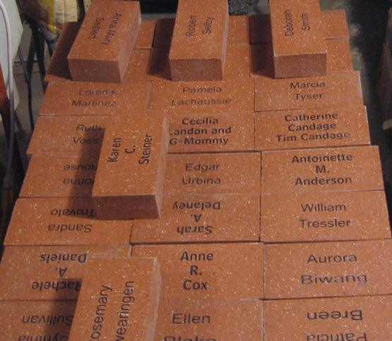 Etched brick pavers for fundraisers