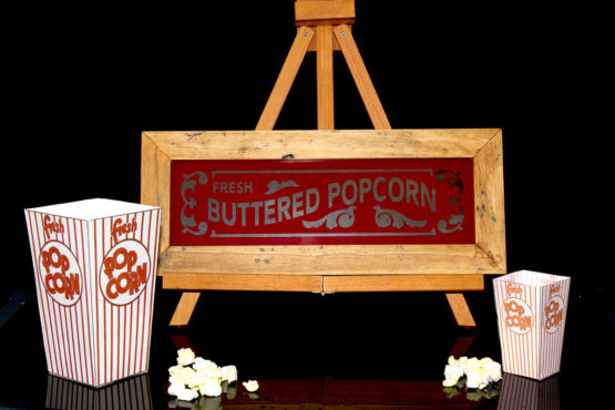 Vintage Buttered Popcorn glass sign