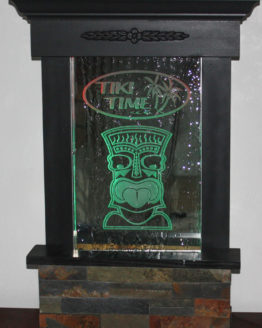 tiki etched glass fountain