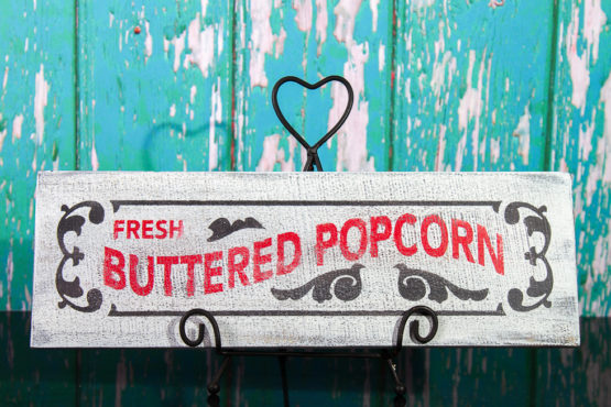 buttered popcorn wood sign